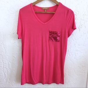 Cute Sequined Pocket T-shirt, Dark Pink